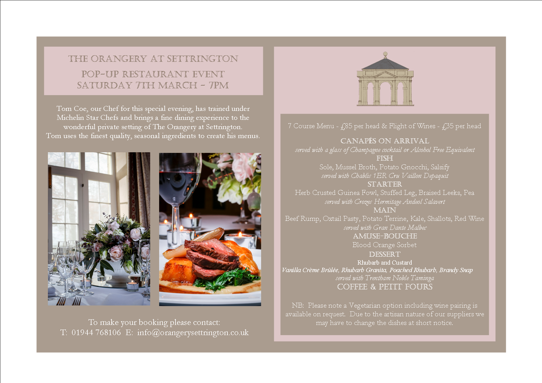 Pop Up Advert Including Menu & Drinks 7 March 2015-1